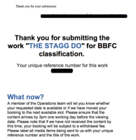 Screengrab of The Stagg Do submission to BBFC