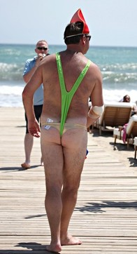 Man in a mankini on a stag do