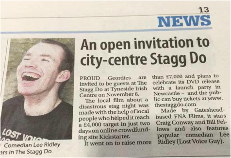 Photograph from The Chronicle showing an article about The Stagg Do featuring an image of Lee Ridley (Lost Voice Guy)